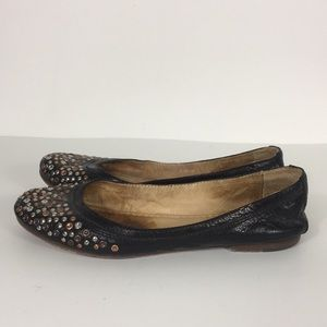 Frye Black Leather Carson Studded Flats